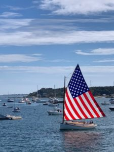 Catboat Charters with USA Flag