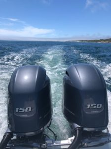 Twin outboard engines and wake behind boat